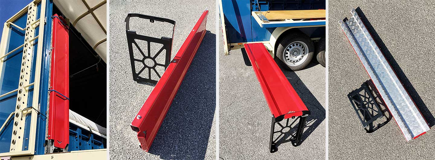 The new ramp for the trailer is made from aluminium